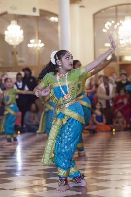Sunday lobby Indian dancer
